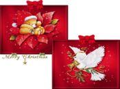 Коледна анимирана картичка-бели гълъби!