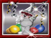 Коледна анимирана картичка-весело бяло мече клоун!