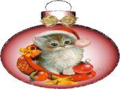 Коледна анимирана картичка-красиво котенце!