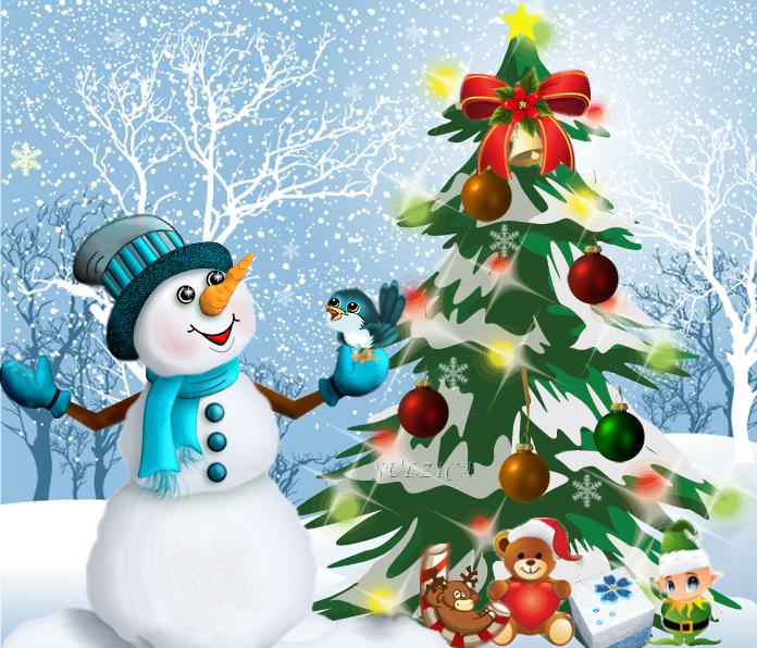 Снежко с птиче-Честита Нова  Година!